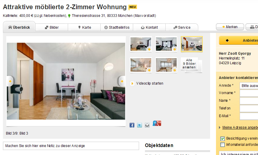 attraktive m blierte 2 zimmer wohnung theresienstrasse 31 80333. Black Bedroom Furniture Sets. Home Design Ideas
