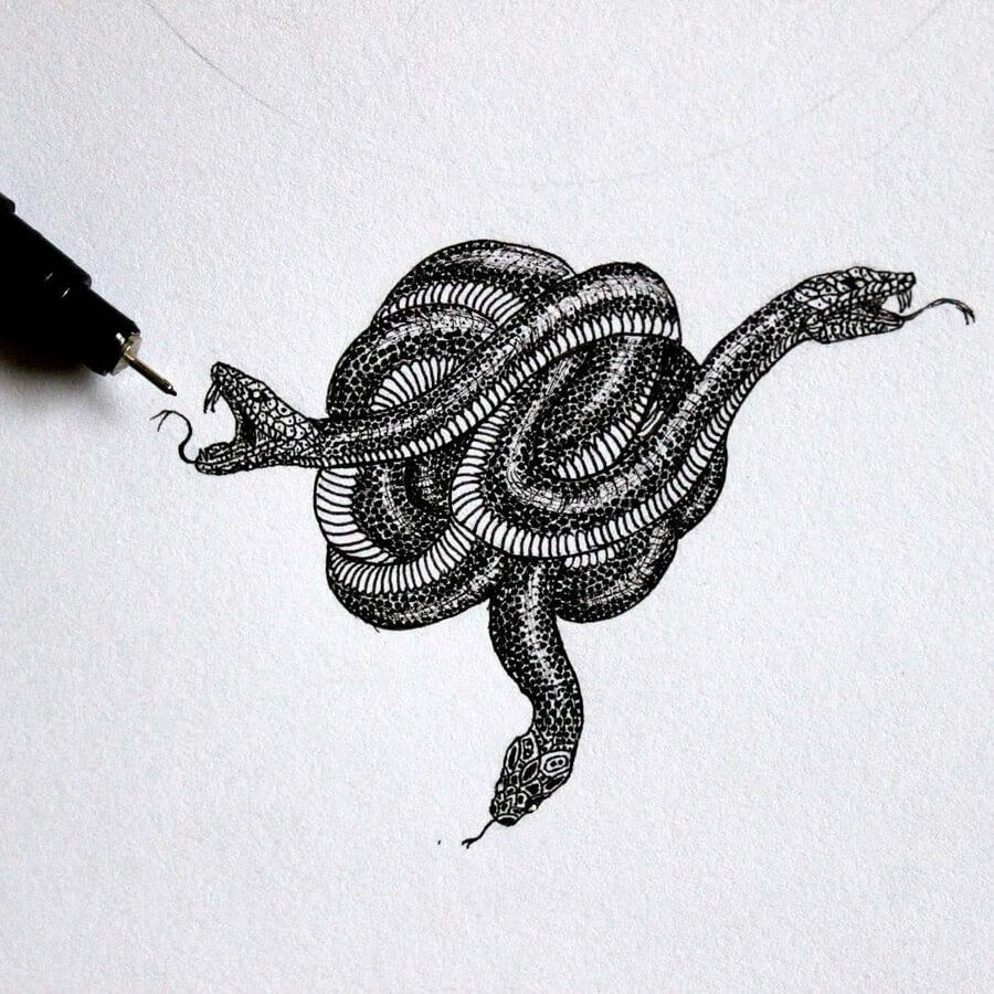 06-Three-Snakes-Tímea-Tellér-Ink-Black-and-White-Illustrations-www-designstack-co