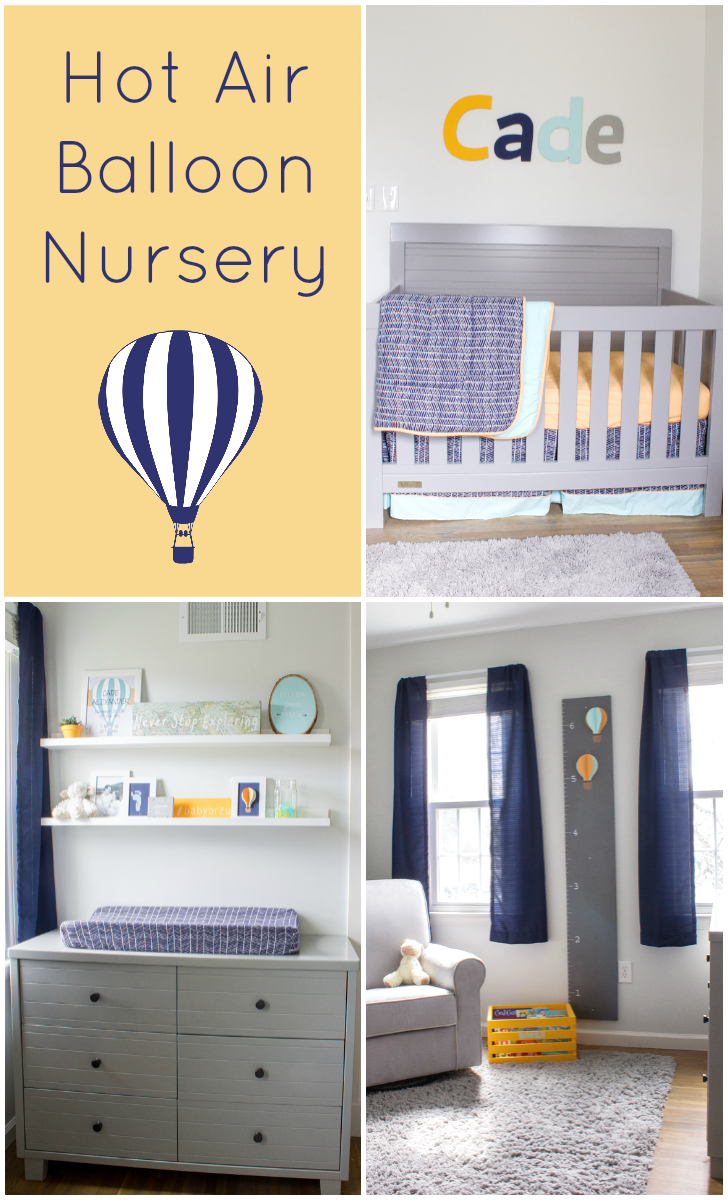 Navy, orange, and aqua hot air balloon nursery