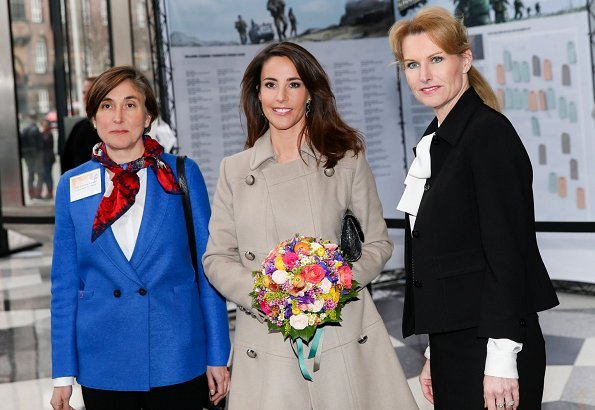 Princess Marie wore a new wool-blend knee-length coat by Paul & Joe. Tine Roed and Denmark Ambassador of France Caroline Ferrari