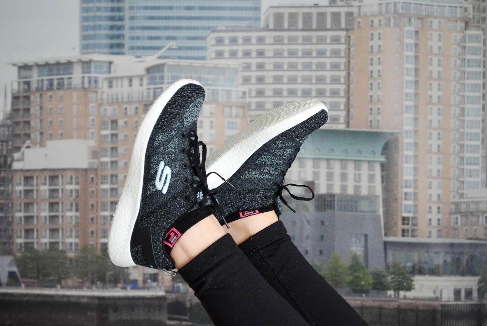 SKECHERS Demi Lovato Burst sneakers in black and white