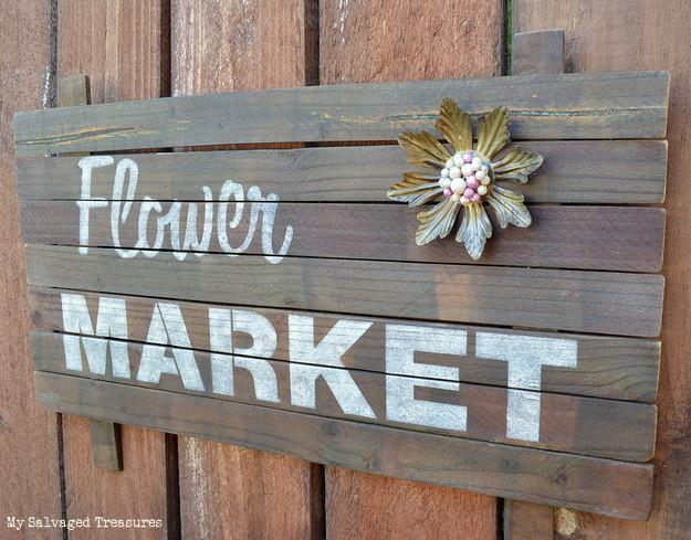 rustic flower market sign built with scrap wood