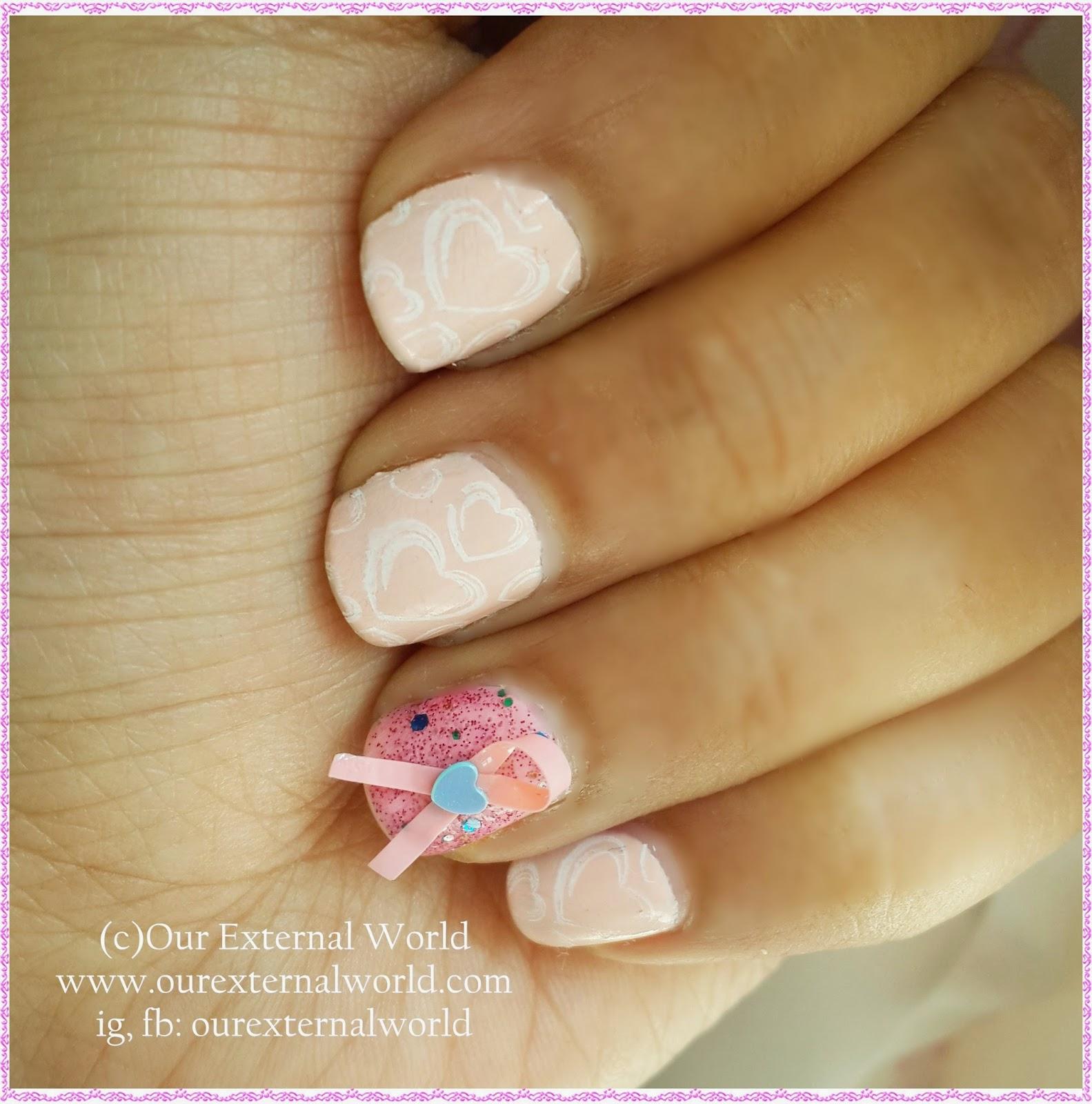 Breast Cancer Awareness Pink Ribbon Nail Art