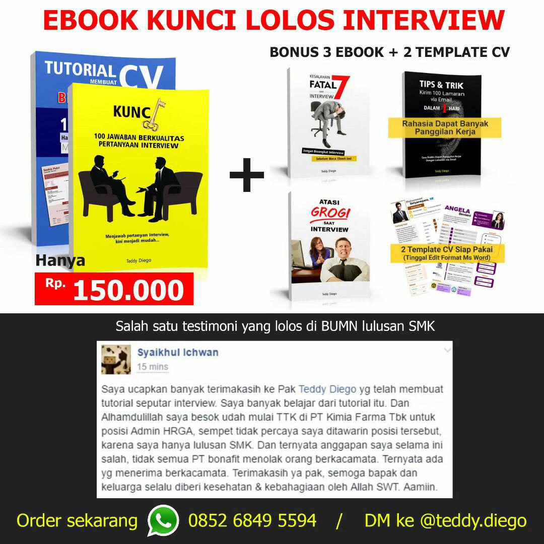 Ebook Kunci Lolos Interview dari Teddy Diego