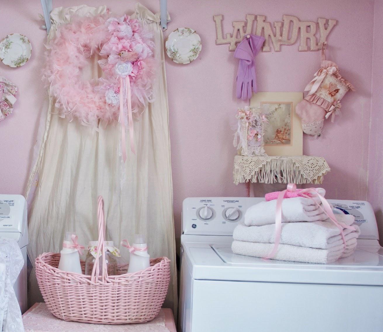 Olivia's Romantic Home: Shabby Chic pink laundry room