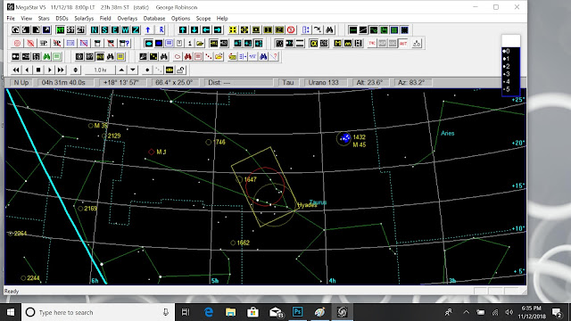 Megastar screenshot shows the camera field of view fixed by Aldebaran and the horizon (Source: Palmia Observatory)