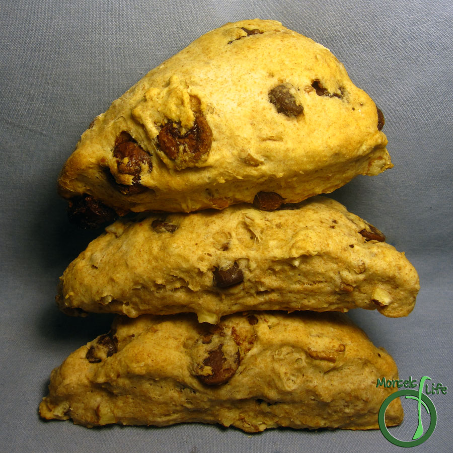 Morsels of Life - Chocolate Chip Scones - A buttermilk scone flavored just like your favorite chocolate chip cookie. Now you can eat a chocolate chip cookie for breakfast - guilt free.