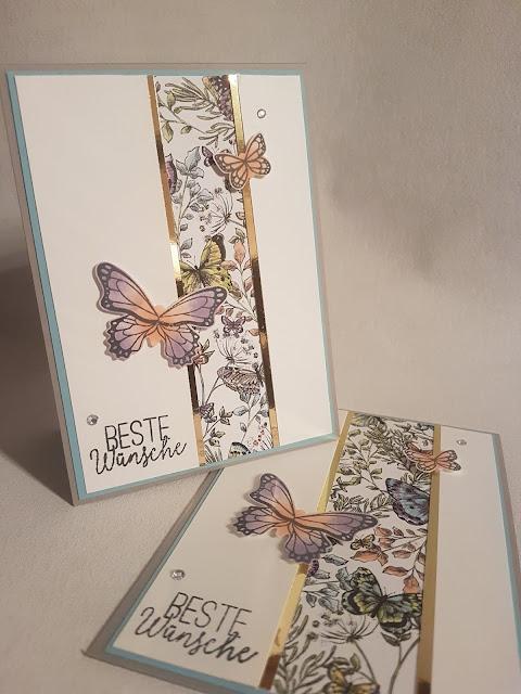 Karte - Schmetterlinge - Stoffpapier - stoffpapier - stampinup - Stampin'Up! - su - diy - basteln - kreativ - stampin up