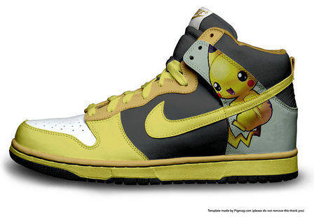 pretty nice 7a397 f5e4f Nike Pikachu Shoes Cartoon High Tops Dunks Yellow Grey
