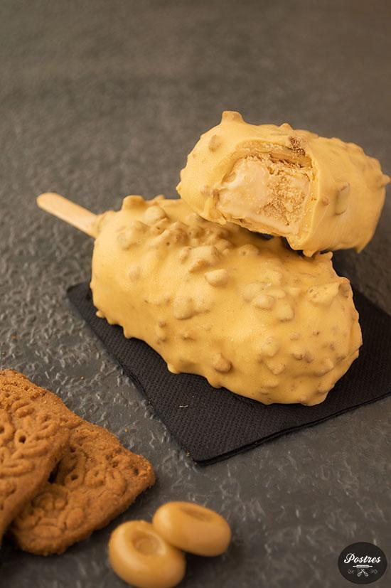 Receta de Helado tipo magnum de Caramelo de Mantequilla salada con galletas Speculoos