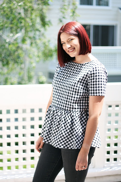 Gingham trend, SheIn, womenswear, red hair, fashion blogger, peplum top