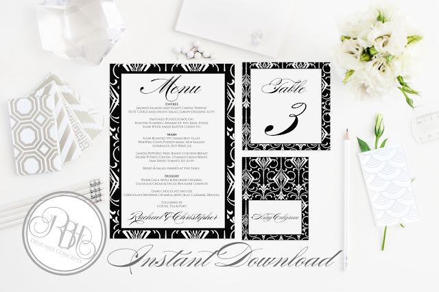 black white art deco table number menu place card