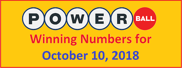 PowerBall Winning Numbers for Wednesday, 10 October 2018