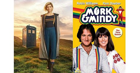 Jodie Whittaker as Doctor Who and Mork & Mindy