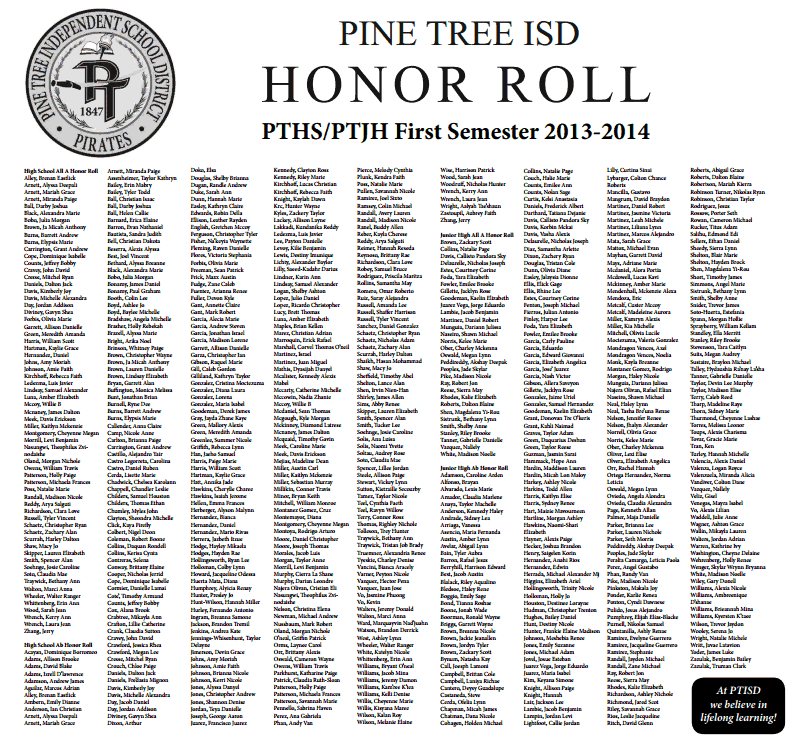 The Pine Tree Post: District News: Honor Roll for First ...