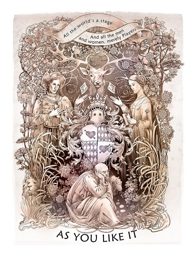 12-As-you-like-it-Irina-Vinnik-Intricate-Drawings-for-a-Shakespeare-Calendar-www-designstack-co