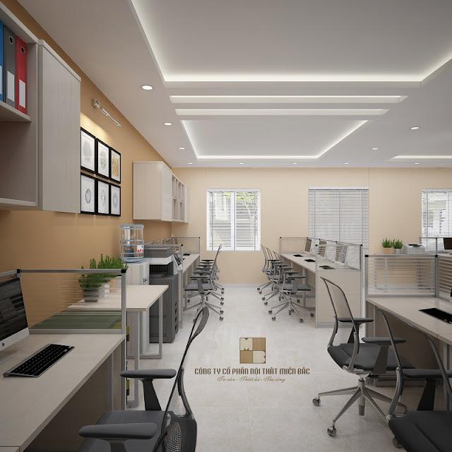 Thiết kế nội thất văn phòng với những đồ nội thất cơ bản, quan trọng như bàn ghế làm việc và tủ tài liệu thì những chi tiết trang trí rườm rà chúng ta nên bỏ qua