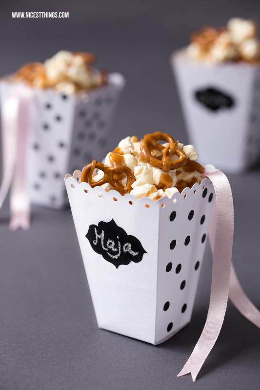 DIY Popcorn Box basteln und Karamell Popcorn Rezept mit Salzbrezeln