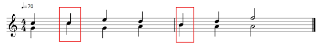 Partitura con dos voces. Podemos ver figuras con dos plicas cuando las dos voces coinciden