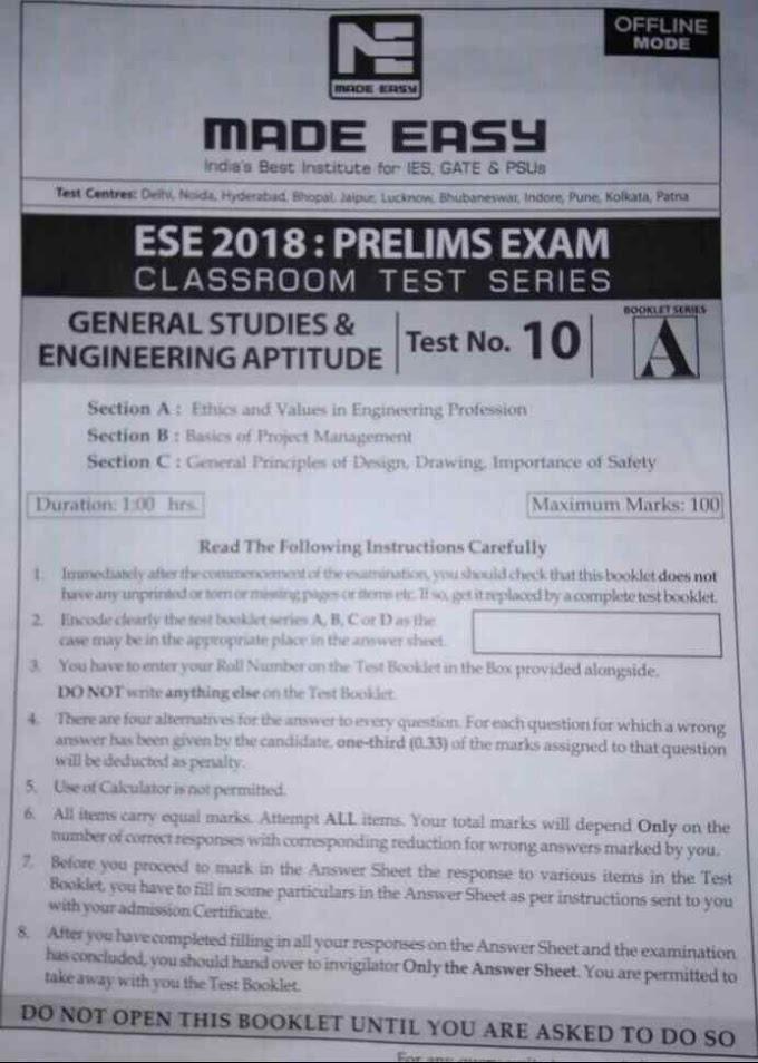 ESE MADE EASY OFFLINE TEST-10 [MECHANICAL]