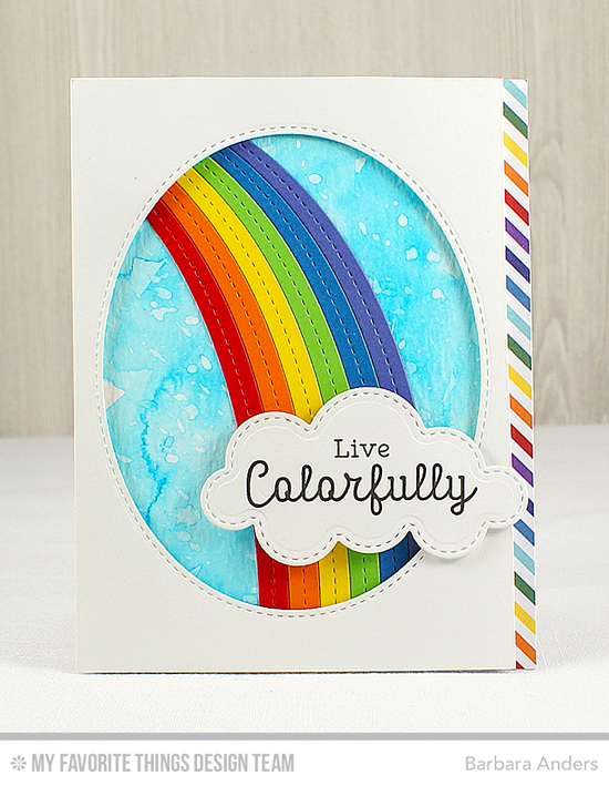 Handmade card from Barbara Anders featuring Rainbow Greetings stamp set and End of the Rainbow and Inside & Out Stitched Oval STAX Die-namics #mftstamps