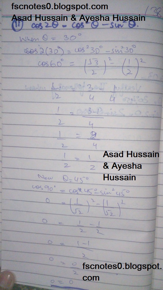 FSc ICS FA Notes Math Part 1 Chapter 9 Fundamentals of Trigonometry Exercise 9.3 Question 2 - 3 by Asad Hussain & Ayesha Hussain 2