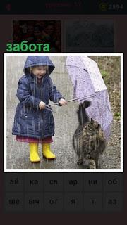 забота девочки, которая зонтиком укрывает кошку под дождем
