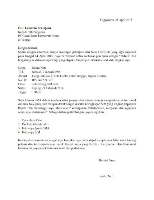 Contoh surat lamaran kerja ke perusahaan swasta