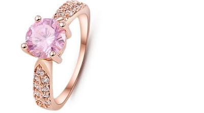 Adjustable Ring Gold Pink Zircons