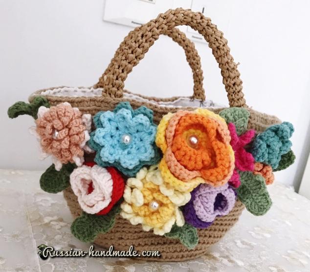 Схемы вязания сумочки-корзинки с цветами (4)