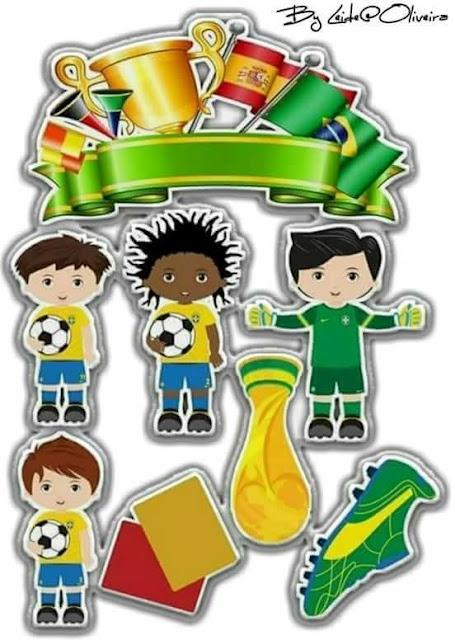 Brasil en la Copa del Mundo 2018: Toppers para Tartas, Tortas, Pasteles, Bizcochos o Cakes para Imprimir Gratis.