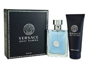Versace Pour Homme Men Gift Set (Eau De Toilette Spray, Hair and Body Shampoo)