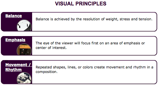 Visual Principles : Anything to do with design understand the formal elements