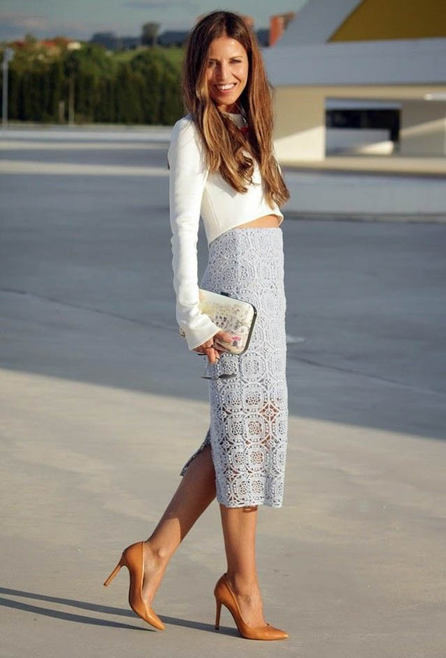 invitada boda falda camisa blanca white shirt skirt blog