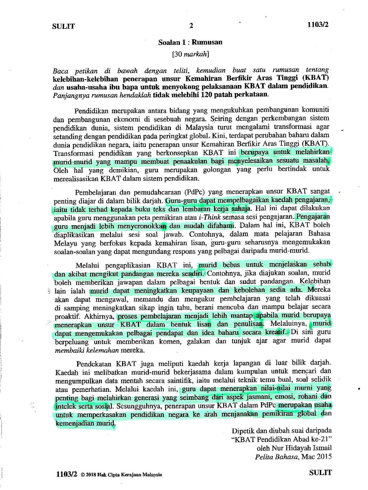 Laman Bahasa Melayu SPM: CADANGAN JAWAPAN SOALAN KERTAS ...