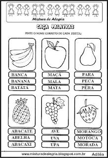 Caça palavras com nome de frutas