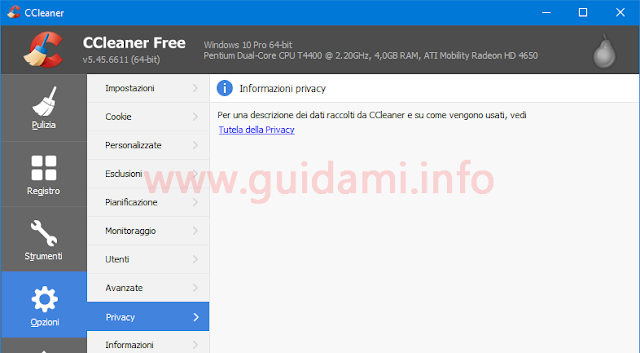 CCleaner 5.45 opzioni Privacy