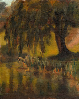 Oil painting of a weeping willow beside a small creek with rushes on the river bank.