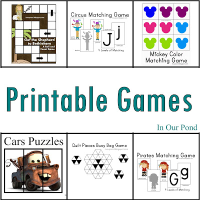 FREE Game Printables from In Our Pond