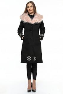 palton de dama lung cu blana de iarna REDUCERE