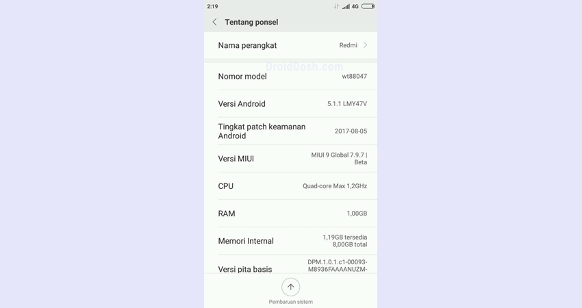 MIUI 9 Lollipop for Lenovo A6000