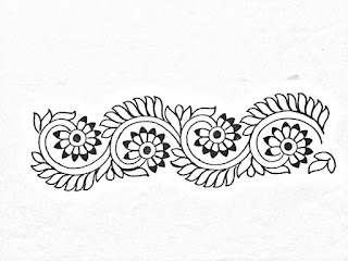 Embroidery design sketch on tracing paper for borders