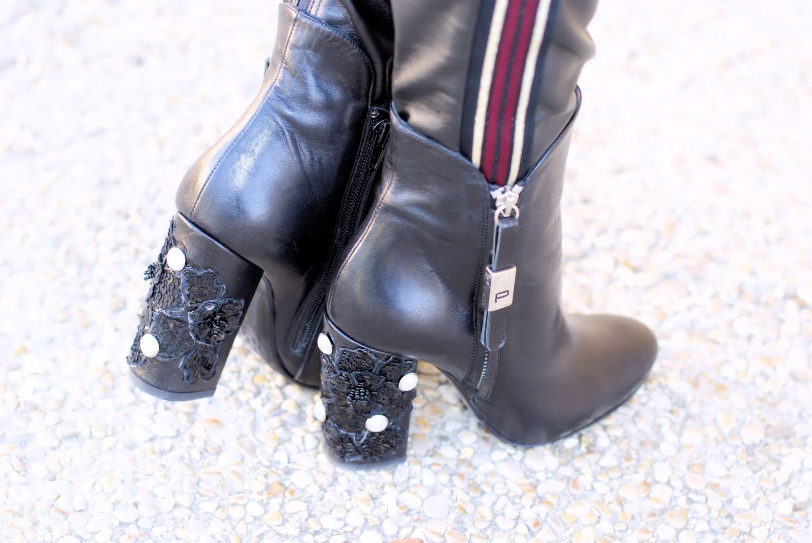 Giancarlo Paoli jeweled ankle boots, pearls on the heels, on Fashion and Cookies fashion blog, fashion blogger style
