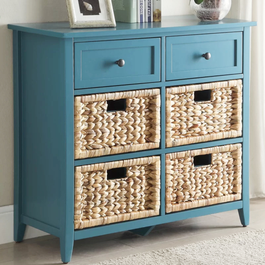 Blue Coastal Chests and Cabinets with Basket Drawers