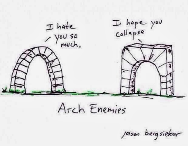 Funny Arch Enemies Cartoon Picture - I hate you so much.  I hope you collapse.