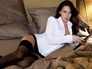 Megan Fox Hot White Shirt And Black Stocking