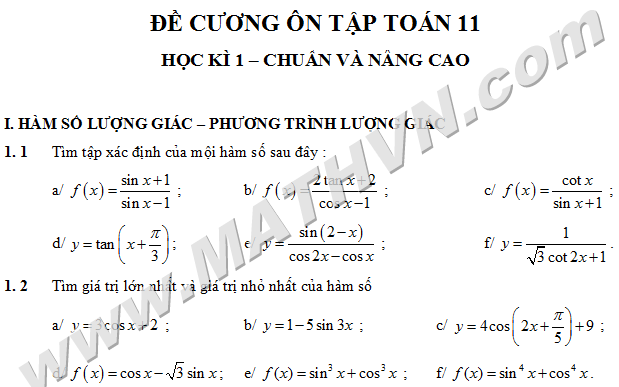 de cuong on tap hoc ky 1 toan 11 word, chuan va nang cao, 2012-2013