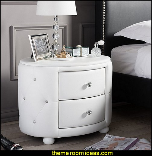 Hollywood Glamour Style Oval 2-Drawer Faux Leather Upholstered Nightstand