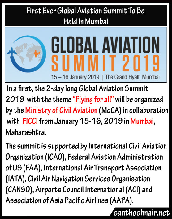 First Ever Global Aviation Summit to be held in Mumbai