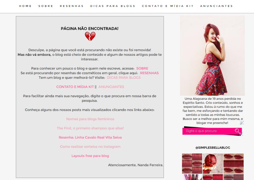 Exemplo de página de erro personalizada